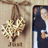 JM01052 Wooden Country Vintage Wedding with Weaving Love Photo Frame - BURLYWOOD