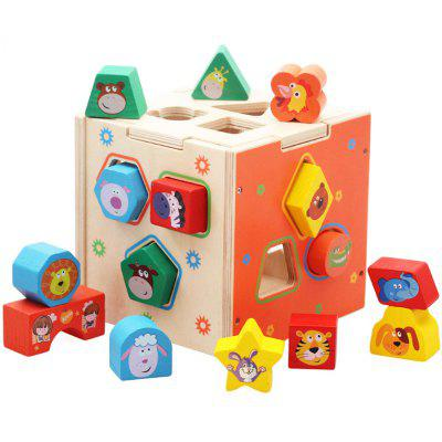 Children's Puzzle Early Teaching Stand Volume Wooden Geometry Shape Wooden Pairing Blocks Cartoon Shape Intelligence Box