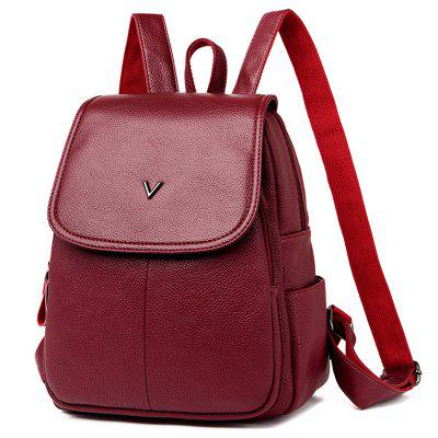 Shengtong3006 Casual Fashion Solid Color Lychee Ladies Backpack