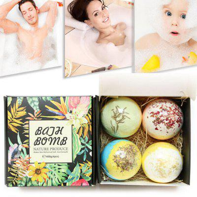 Rose Bath Salt Dried Flower Essential Oil Bathing Ball Set Box Multi-bubble Bath Salt Ball 4PCS