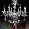 E14 6-head Crystal Chandelier Light for Dining Room Bedroom - TRANSPARENT