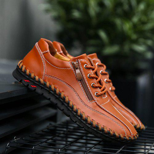 Men Comfortable Hand Stitching Zipper Casual Shoes