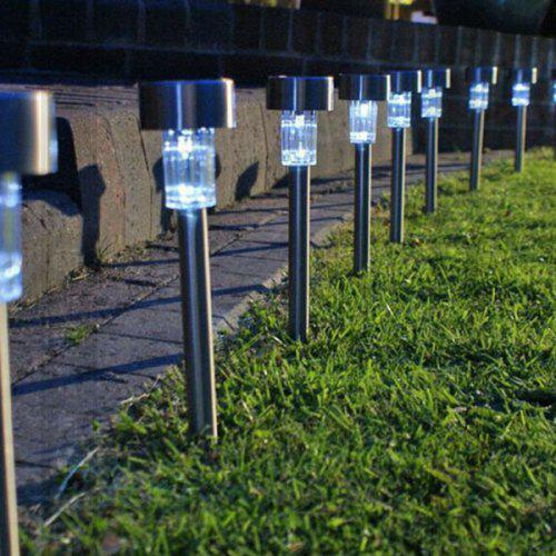 5pcs Amorphous Silicon Stainless Steel Solar Outdoor Lawn Decorative Floor Lamp