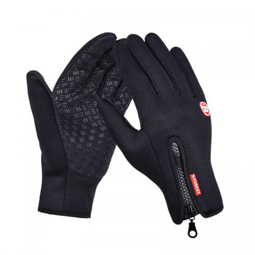 Winter Waterproof Windproof Touch Screen Silicone Anti-skid Zipper Fleece Warm Gloves