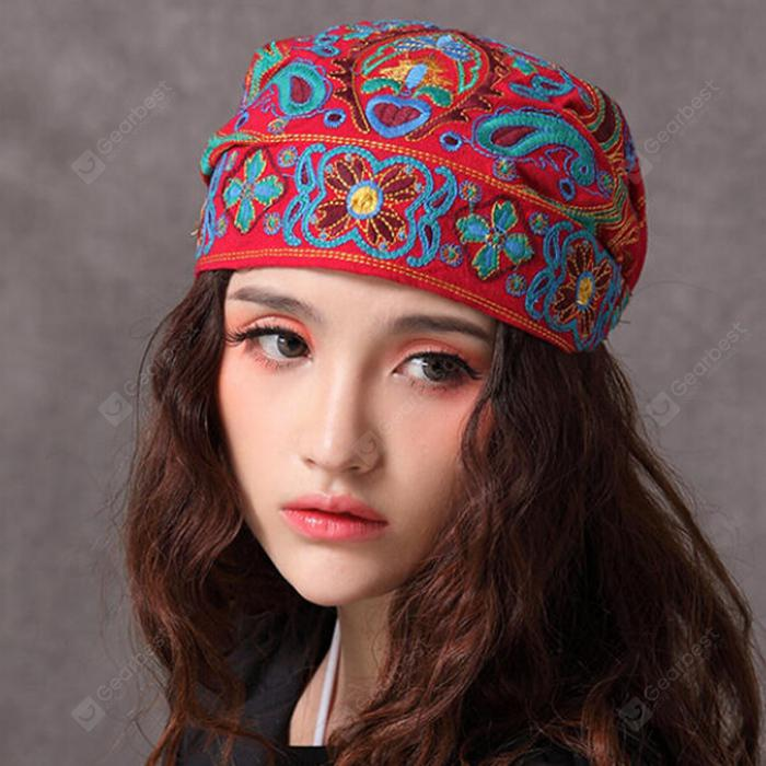 Women National Style Classic Casual Embroidered Scarf Hat