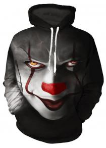 classic fit c8d89 ae44b Men s Clown 3D Printed Loose Hooded Pullover Hoodie