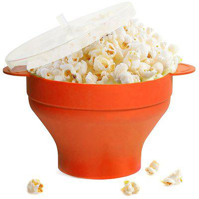 Silicone Bowl High Temperature Resistant Microwave Oven Folded Popcorn Bucket with Lid