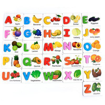 52PCS Children Early Learning English Alphabet Wood Recognition Picture Card Toys