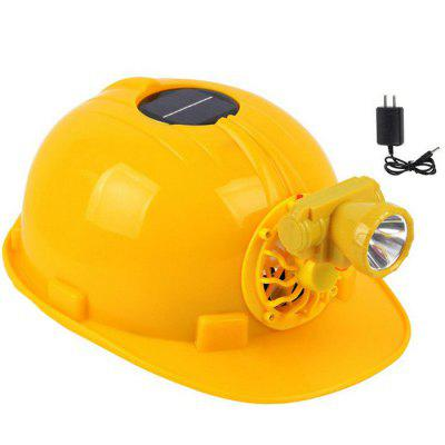 Solar Fan Helmet Charging With LED Lights Site Protection Outdoor Engineering Cap Anti-pressure Cooling Helmet