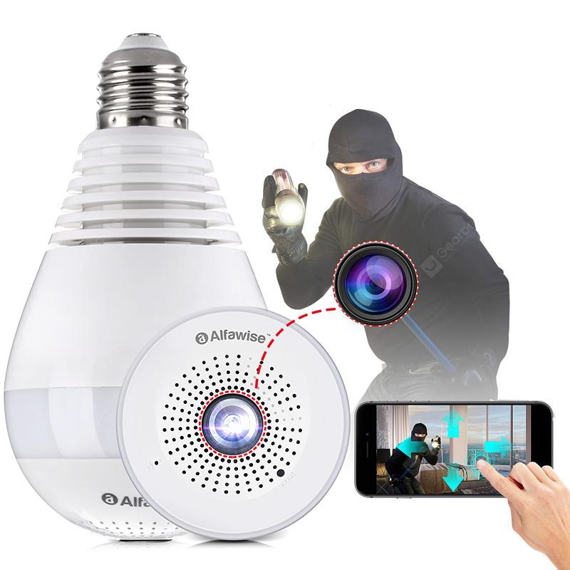 Alfawise E27 Panoramic Infrared Night Vision Bulb Camera - White 1.3 million pixels