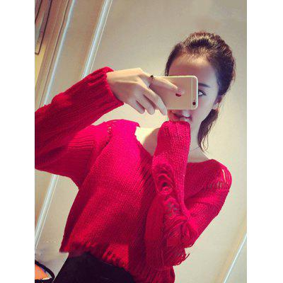 Short Knit Sweaters Casual Sexy Hollow Pullover