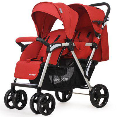 2 Babies Stroller Double Seat Front / Rear Reclining Portable Folding Trolley