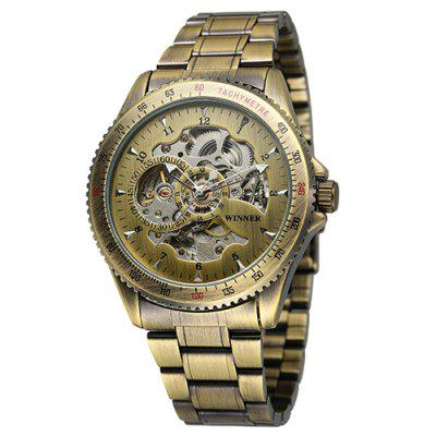 Zwycięzca WRG8031 Hollow Bronze Men Steel Belt Automatic Mechanical Watch