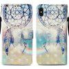 Painted TPU + PU Leather Phone Case for iPhone X - MULTI-A