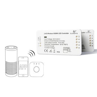 GLEDOPTO C - 007 ZIGBEE Contrôleur de Bande à LED RVBB de DC 12 - 24V Compatible avec Amazon Echo plus / Osram Lightify