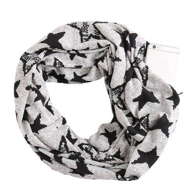 Multi-function Leopard Snake Pattern with Zip Pocket Fashion Scarf