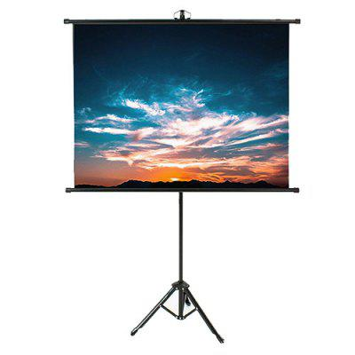 Portable Retractable High-brightness Anti-light Projector Screen 100 inch 4:3 with Floor Metal Bracket Reflective Fabric Curtain