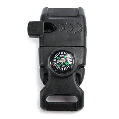 Compass Flint Whistle Outdoor Multi-function Buckle