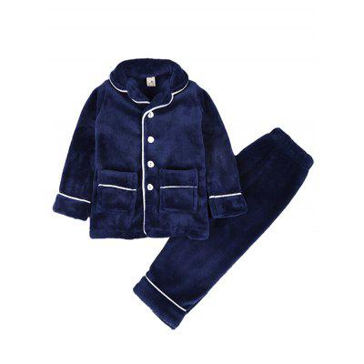 Children's Flannel Long-sleeved Suit Thickening Boys Plus Velvet Home Service Pajama