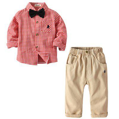 Boy Red Plaid Long-sleeved Shirt Trousers Bow Tie Gentleman Walking Dress Suit