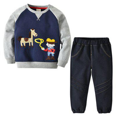 Autumn Winter Latest Boy's Cartoon Color Matching Hoodie Suit