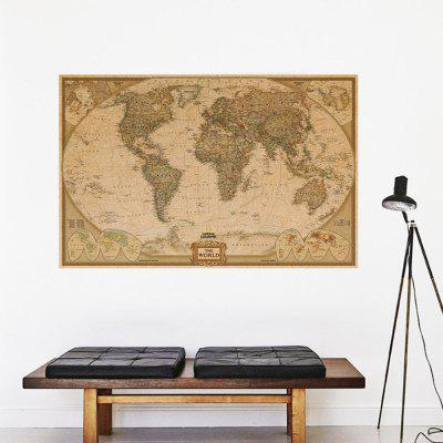ETH0210 World Map Kraft Paper Poster Decoraciones para el hogar Etiqueta de la pared