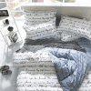Nordic Refreshing Simple English Letter Four-piece Bedding Set - WHITE