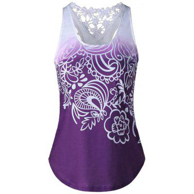 Women Vest Tops Lace Stitching Print Sleeveless