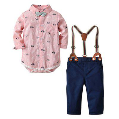 Boys Children's Printed Bow Tie Shirt and Strap Pants Set