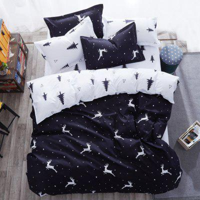 Nordic Minimalist Personality Black And White Matching Bedding Set of Four