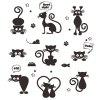 288 Removable Cute Cat Wall Sticker - BLACK
