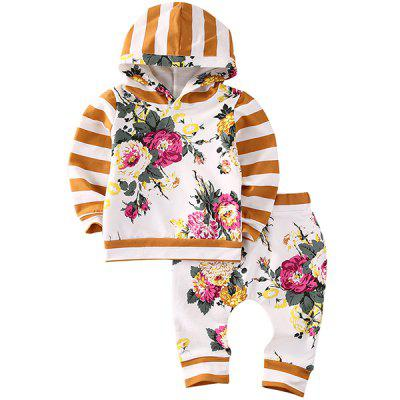 FT9018 Baby Girl Child Floral Striped Hoodies Print Casual Pants 2pcs
