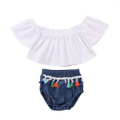 FT1306 Sweet One-shoulder Top Personality Tassel Triangle Shorts 2pcs