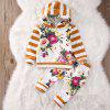 FT9018 Baby Girl Child Floral Striped Hoodies Print Casual Pants 2pcs - MULTI