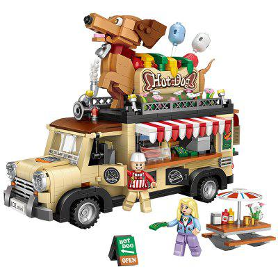 Puzzle Assembling Car to Sell Hot Dog Building Blocks Toys