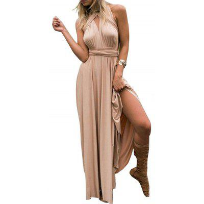 Women Fashionable Sexy Solid Backless Formal Dress
