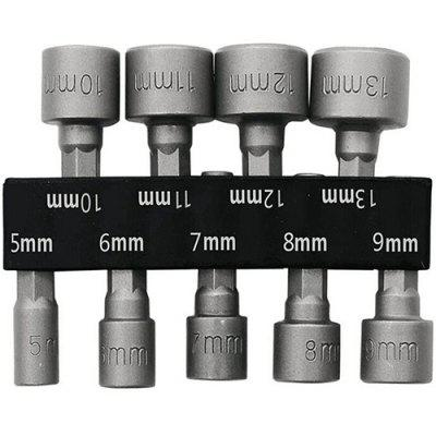 5 - 13mm 1/4 inch Hex Shank CRV Screwdriver Socket Sleeve Nozzles Nut Driver Drill Bit Adapter 9PCS