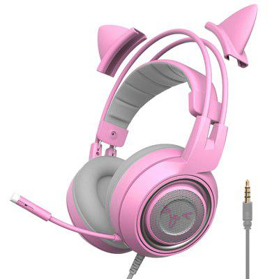 Somic 951S Pink Gaming Headset Cat Ear 3.5mm Wired Headphone
