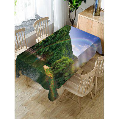 Mountains Rainbow Print Fabric Waterproof Tablecloth