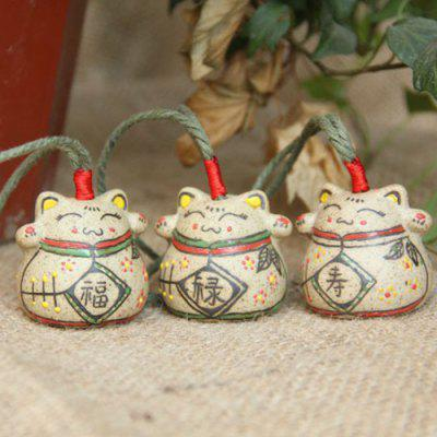 Handmade Ceramic Pendant Vintage Hand-painted Cat Bell Ceramic Wind Chime