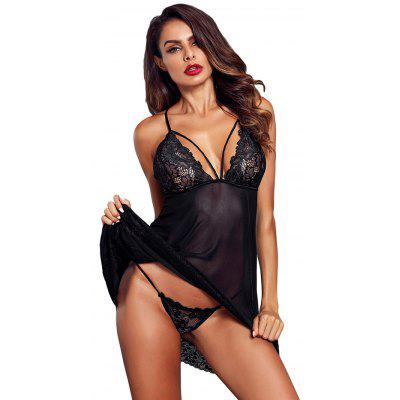 Mulheres Sexy Black Low Low Crisscross Lace Trim Saia Curta com G-string