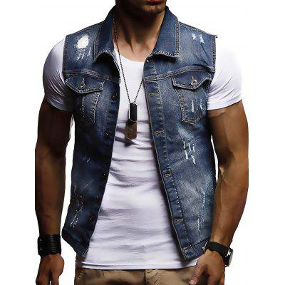Men  's Casual mangas Denim Jacket Vest