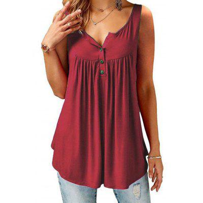 Women Tank Tops Button Solid Color Slip