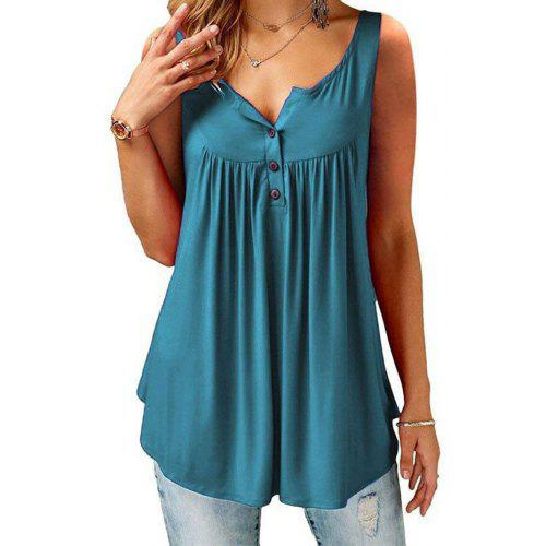 Solid Color Pleated Casual Women's Vest