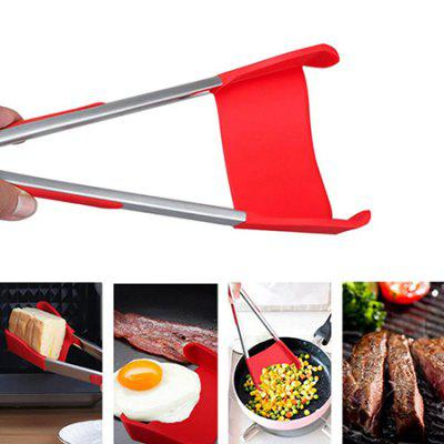 Intelligent Multi-functional Kitchen 2-in-1 Spatula Tongs Non Stick Heat Resistance Food Folder