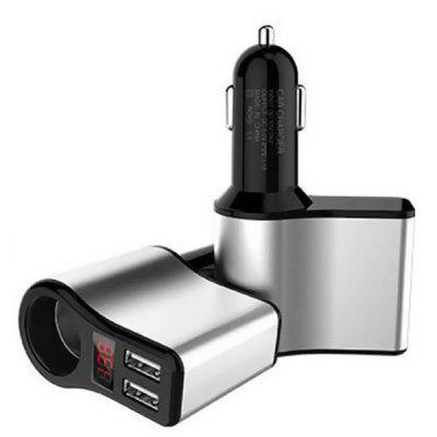 Dual USB Bluetooth Car Charger Metal Car Charger Multi-function Positioning Cigarette Lighter
