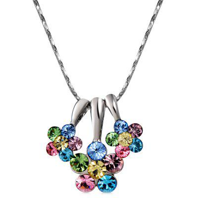Three Petals with Colorful Crystal Pendant Necklace