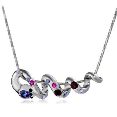 Twisted Snake with Colored Zircon Pendant Necklace