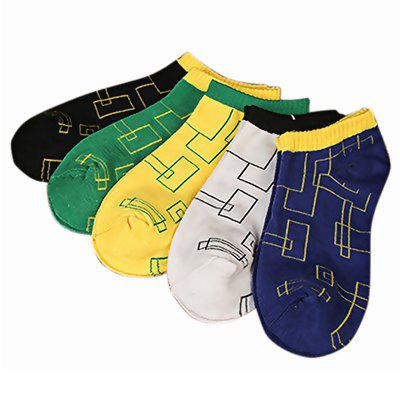 New Summer Mens Maze Polyester Cotton Boat Socks 5 Pair