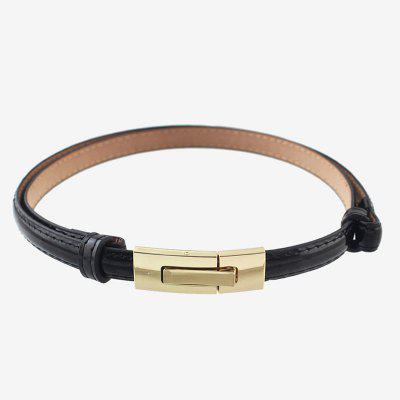 Women Leather Belt with Metal Buckle
